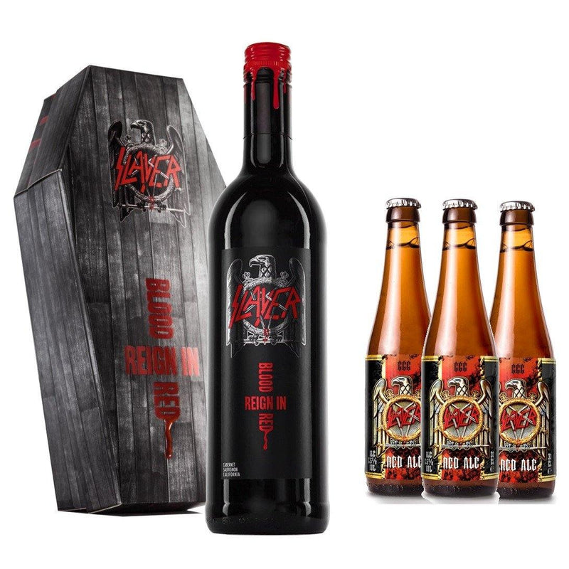 Slayer Reign In Blood Cabernet Sauvignon Coffin Gift Pack and 3 Slayer Red Ale Beers