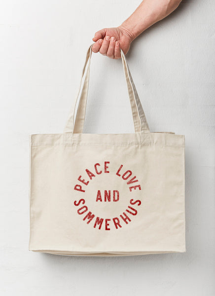 "Beach Bag ""Peace Love and Sommerhus"" - Recycled - Hjemhavn Beach Bag"