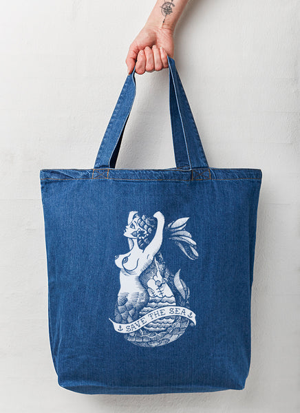 "Beach Bag ""Mermaid"" (Denim) - Organic - Hjemhavn Beach Bag"