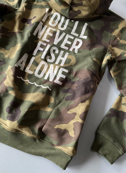 "Hoodie ""You'll Never Fish Alone"" - Unisex - Hjemhavn Hoodie"