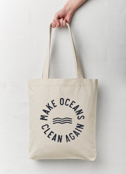 "Shopping Bag ""Make Oceans Clean Again"" - Recycled - Hjemhavn Shopping Bag"