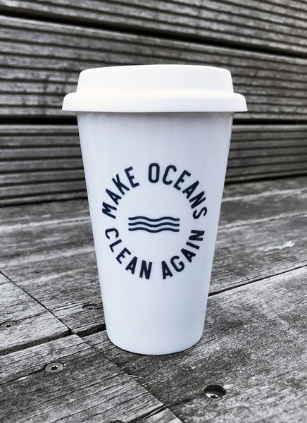"To-Go Keramikkrus ""Make Oceans Clean Again"" - Hjemhavn Keramikkrus"