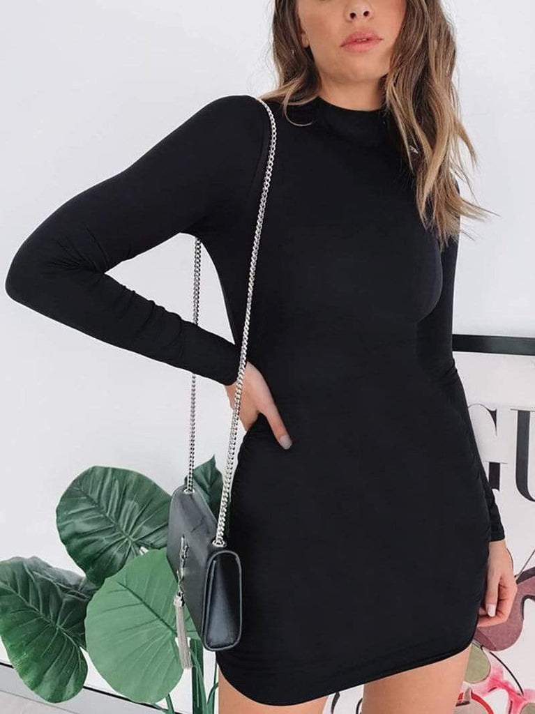 Minimal Fox Black / L Night Out Sleeved Bodycon Dress