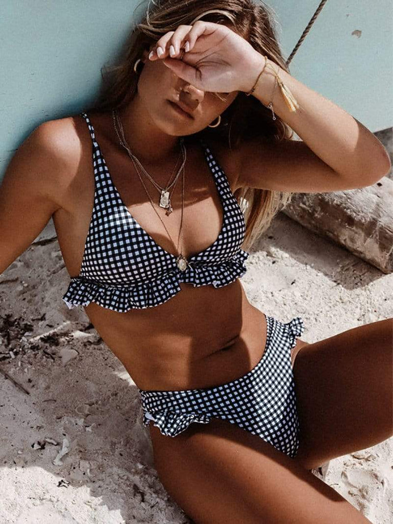Minimal Fox Navy / S Check Me Out Bikini Set