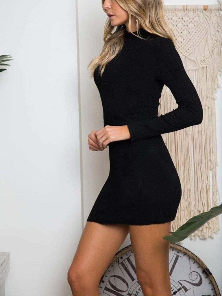 Minimal Fox Night Out Sleeved Bodycon Dress