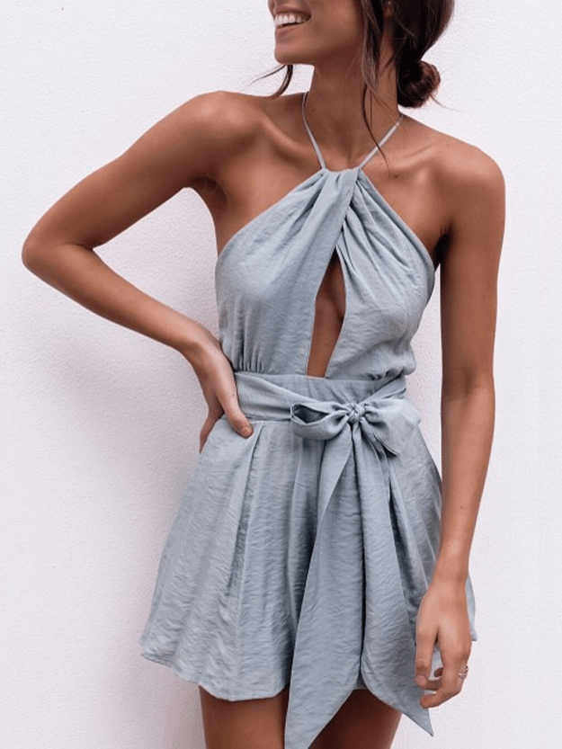 Minimal Fox Powder Blue / XL Mayfair Halter Playsuit