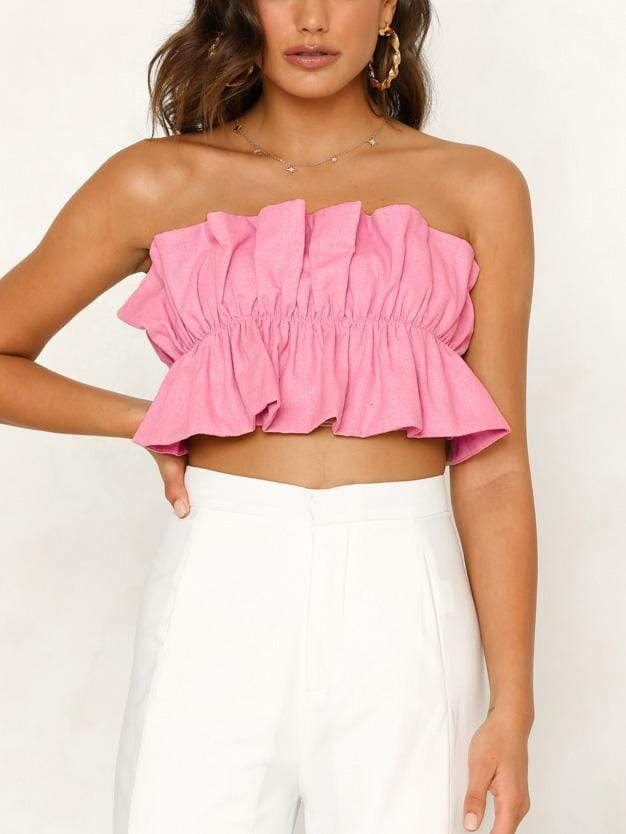 Minimal Fox Rose Pink / S Cupcake Ruffle Top