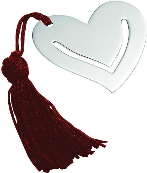 Sterling Silver Heart Bookmark With Red Tassel
