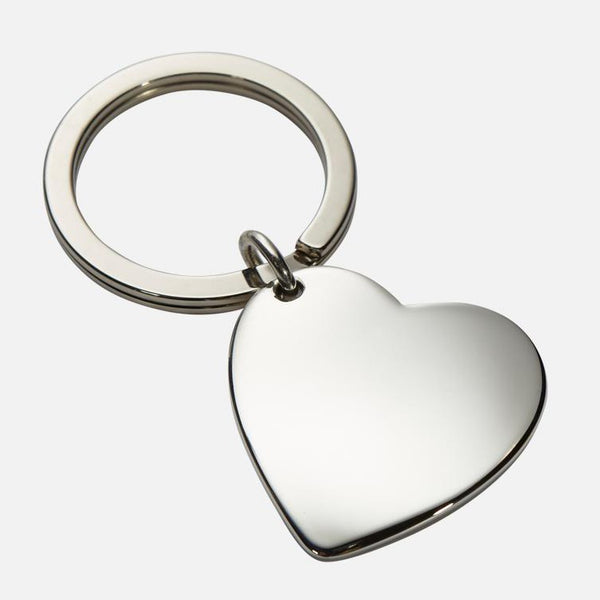 Heart Shaped Keyring In Sterling Silver With Polished Finish