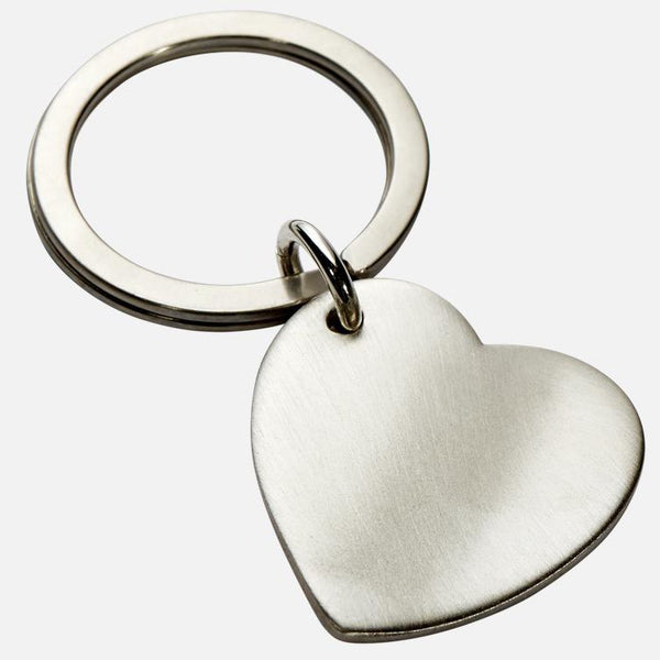 Heart Shaped Wavy Keyring In Sterling Silver With Brushed Finish