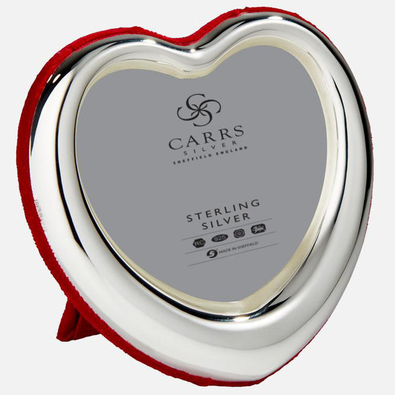 SALE - Sterling Silver Heart Photo Frame With Red Velvet Back