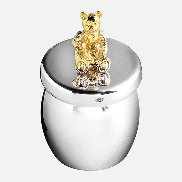 Bear Honey Jar Keepsake Sterling Silver