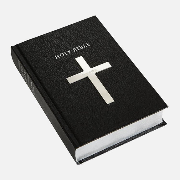 Black Holy Bible Plain Cross Sterling Silver