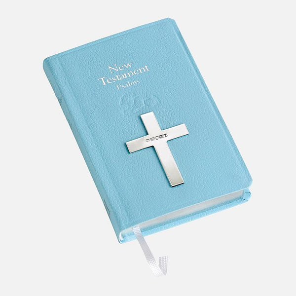 Blue New Testament Bible With Sterling Silver Cross