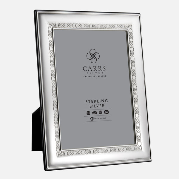 Celtic Sterling Silver Photo Frame With Black Wood Back