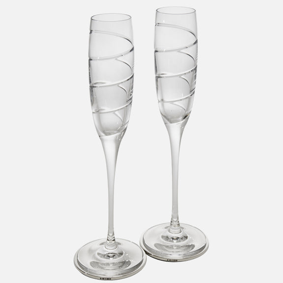 SALE - Champagne Gift Set With Sterling Silver Drinks Coaster