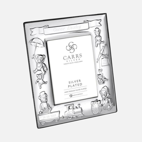 Child's Christening Photo Frame Grey Velvet Back 4x3 Silver Plated