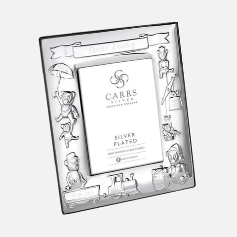 Child's Christening Photo Frame Black Velvet Back 4x3 Silver Plated