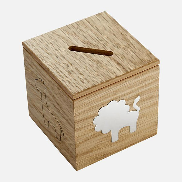 Sterling Silver Child's Safari Money Box With Oak Base