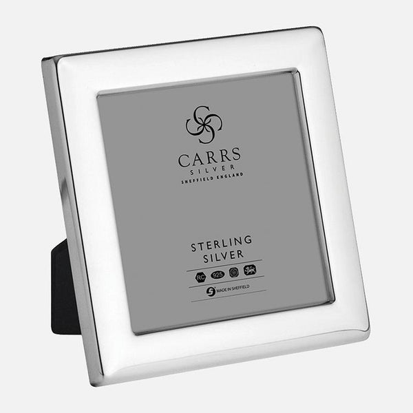 Child's Square Photo Frame Grey Velvet Back 3.5x3.5 Sterling Silver