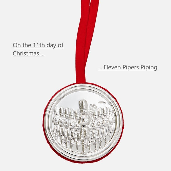 11th Day Of Christmas Hanging Decoration - Eleven Pipers Piping