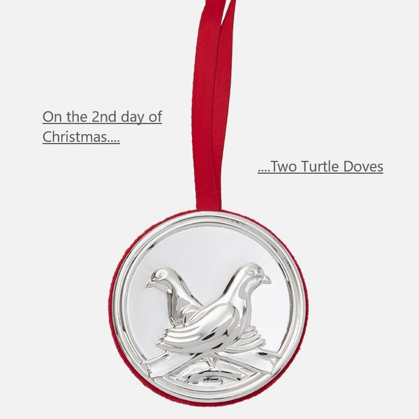 2nd Day Of Christmas Hanging Decoration - Two Turtle Doves