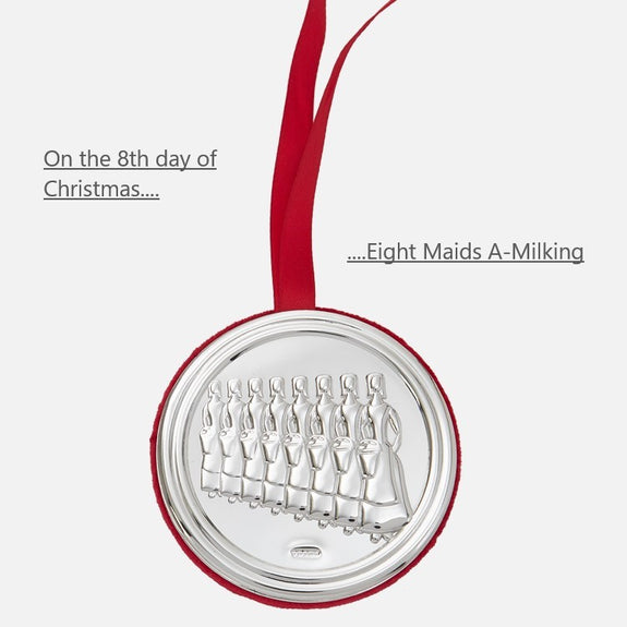 8th Day Of Christmas Hanging Decoration - Eight Maids A-Milking