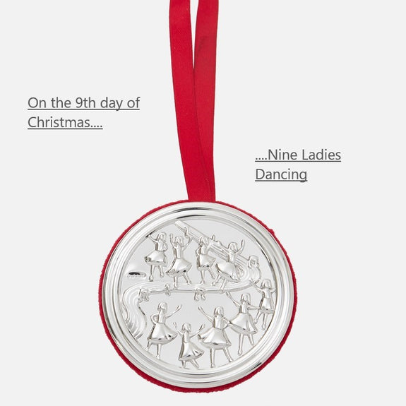 9th Day Of Christmas Hanging Decoration - Nine Ladies Dancing
