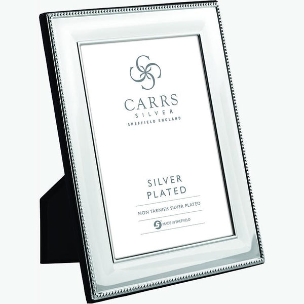 Classic Bead Silver Plated Photo Frame Wood Back