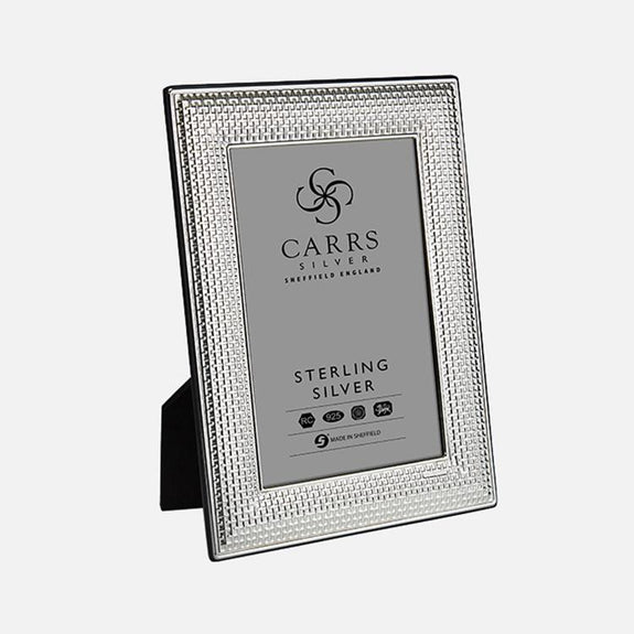 Cross Stitch Sterling Silver Photo Frame With Black Wood Back