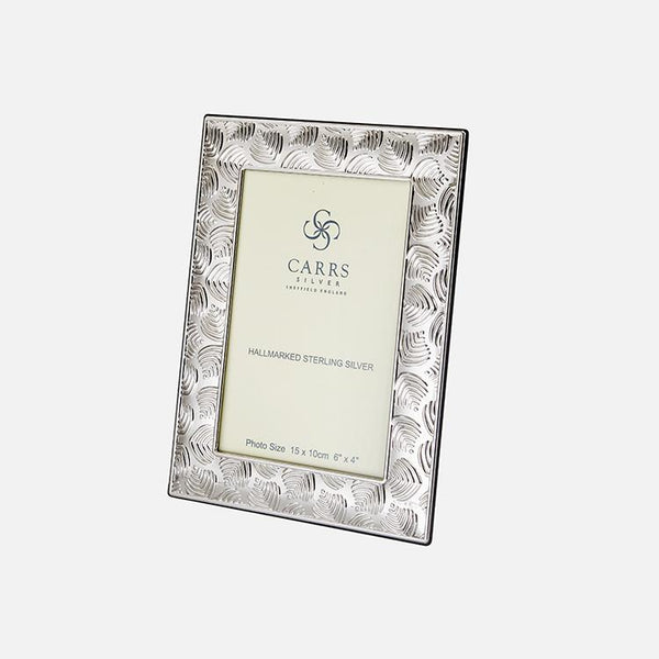 Deco Leaf Sterling Silver Photo Frame With Black Wooden Back