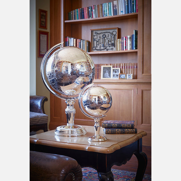 Large Silver Plated Decorative Globe