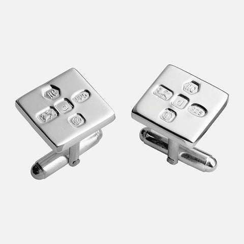 Large Feature Hallmark Sterling Silver Square Cufflinks