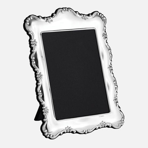 Floral Edge Sterling Silver Photo Frame With Grey Velvet Back