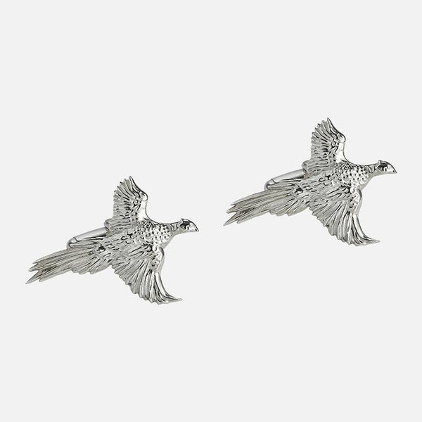 Flying Pheasent Cufflinks Sterling Silver
