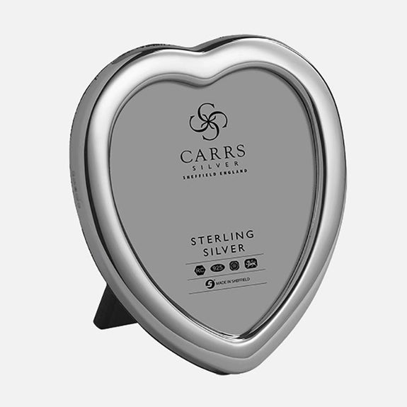Heart Sterling Silver Photo Frame With Grey Velvet Back