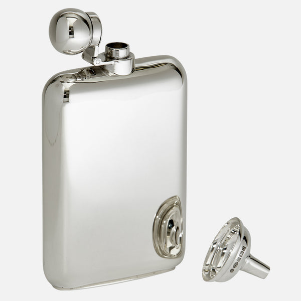 Sterling Silver Hip Flask In Presentation Case