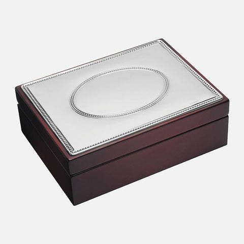 Large Wooden Keepsake Box With Oval Beaded Sterling Silver Lid