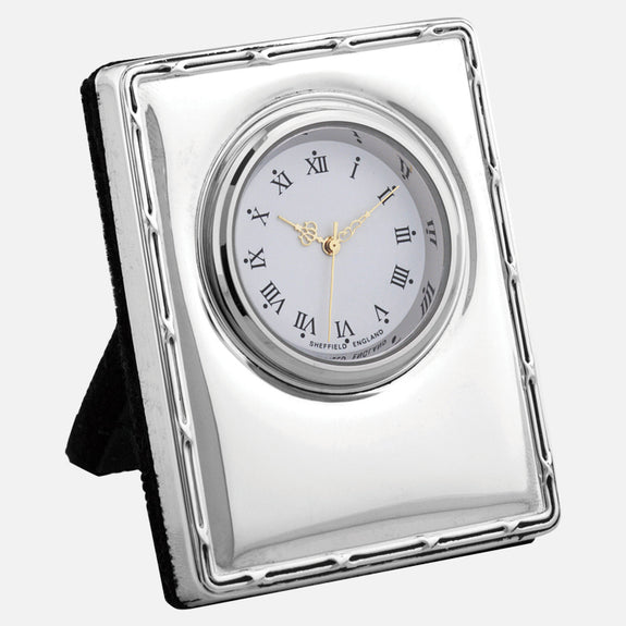 Mini Sterling Silver Clock Reed & Ribbon Design With Grey Velvet Back