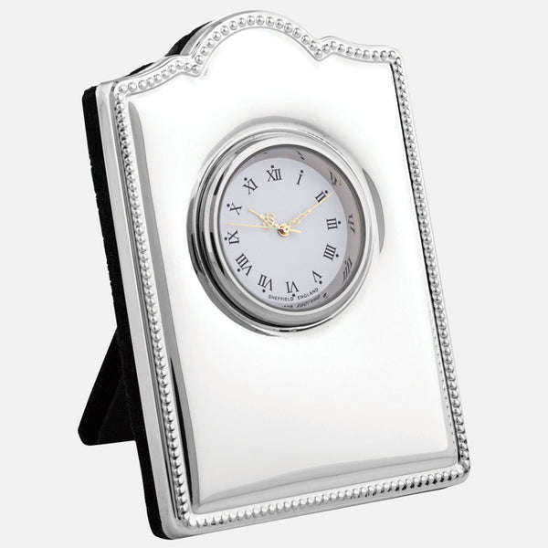 Mini Sterling Silver Clock Bead Design With Grey Velvet Back