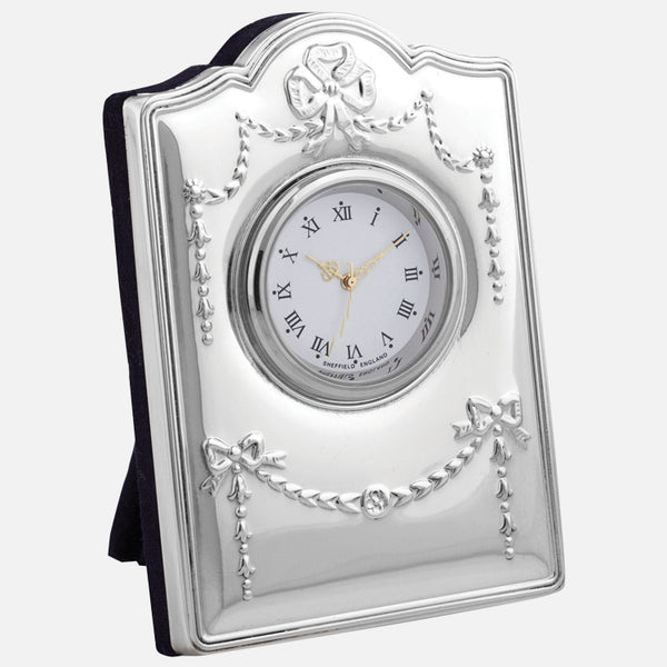 Mini Sterling Silver Clock Regency Design With Grey Velvet Back