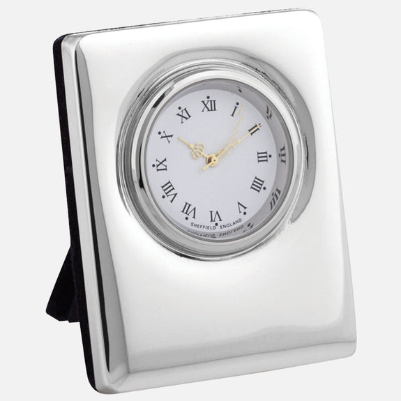 Mini Sterling Silver Clock Plain Design With Grey Velvet Back