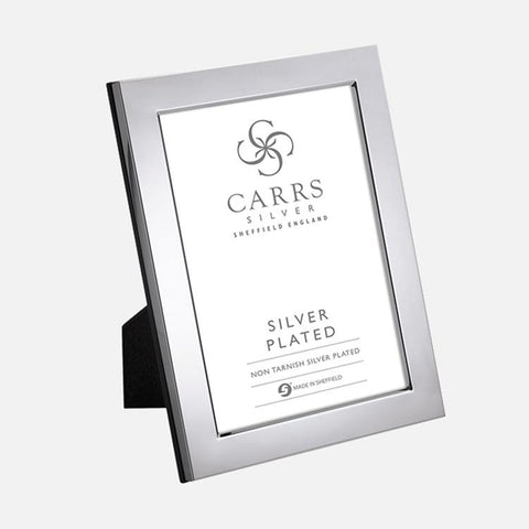 Modern Flat Silver Plated Photo Frame With Wood Back