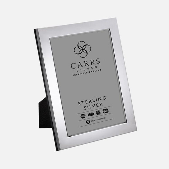 Modern Flat Sterling Silver Photo Frame With Wood Back