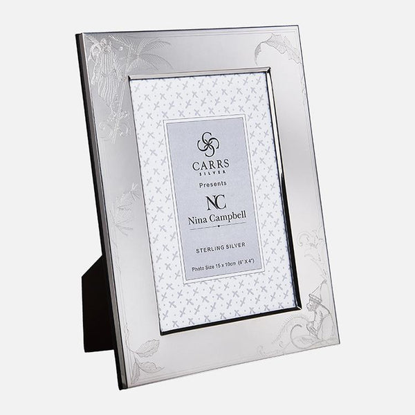 Nina Campbell Barberry Toile Engraved Sterling Silver Photo Frame With Black Wood Back