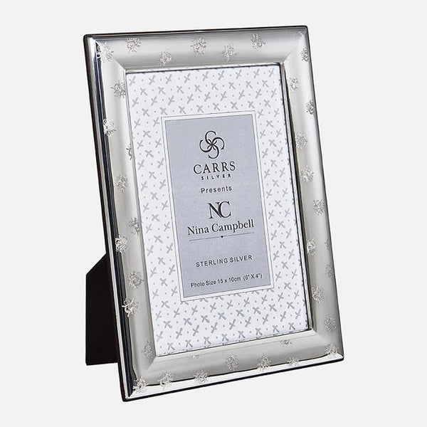 Nina Campbell Sterling Silver Bee Engraved Photo Frame With Black Wood Back