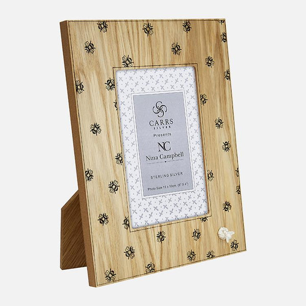 Nina Campbell Bee Sterling Silver Photo Frame With Oak Back
