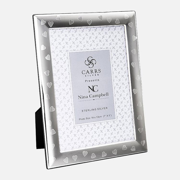 Nina Campbell Sterling Silver Heart Engraved Photo Frame With Black Wood Back