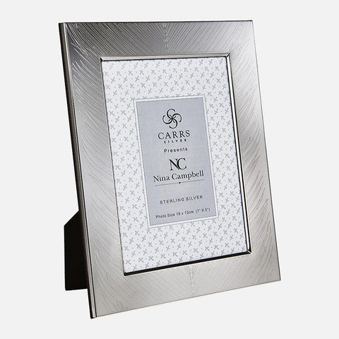 SALE - Nina Campbell Mey Fern Engraved Sterling Silver Photo Frame Black Wood Back