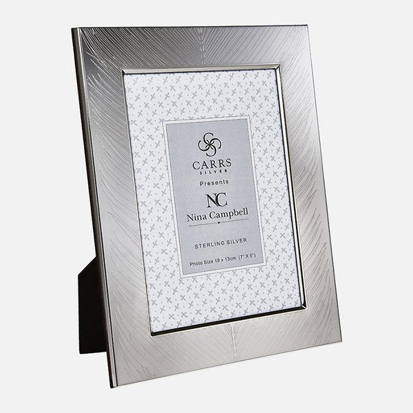 Nina Campbell Mey Fern Engraved Sterling Silver Photo Frame Black Wood Back
